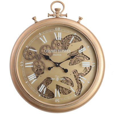 Chilli Decor Champs Elysees FOB Watch Metal Moving Gears Wall Clock Gold 62cm TQ-Y637 2