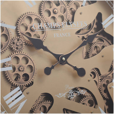 Chilli Decor Champs Elysees FOB Watch Metal Moving Gears Wall Clock Gold 62cm TQ-Y637 5