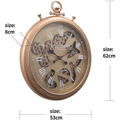 Chilli Decor Champs Elysees FOB Watch Metal Moving Gears Wall Clock Gold 62cm TQ-Y637 10