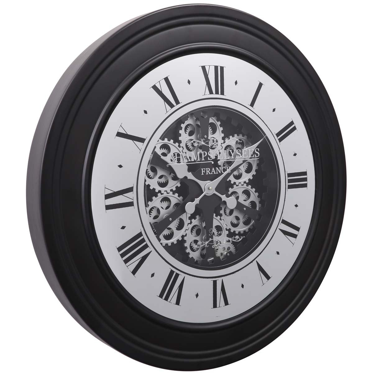 Chilli Decor Champs Elysees Mirrored Black Silver Moving Gears Wall Clock 80cm TQ-Y617 1