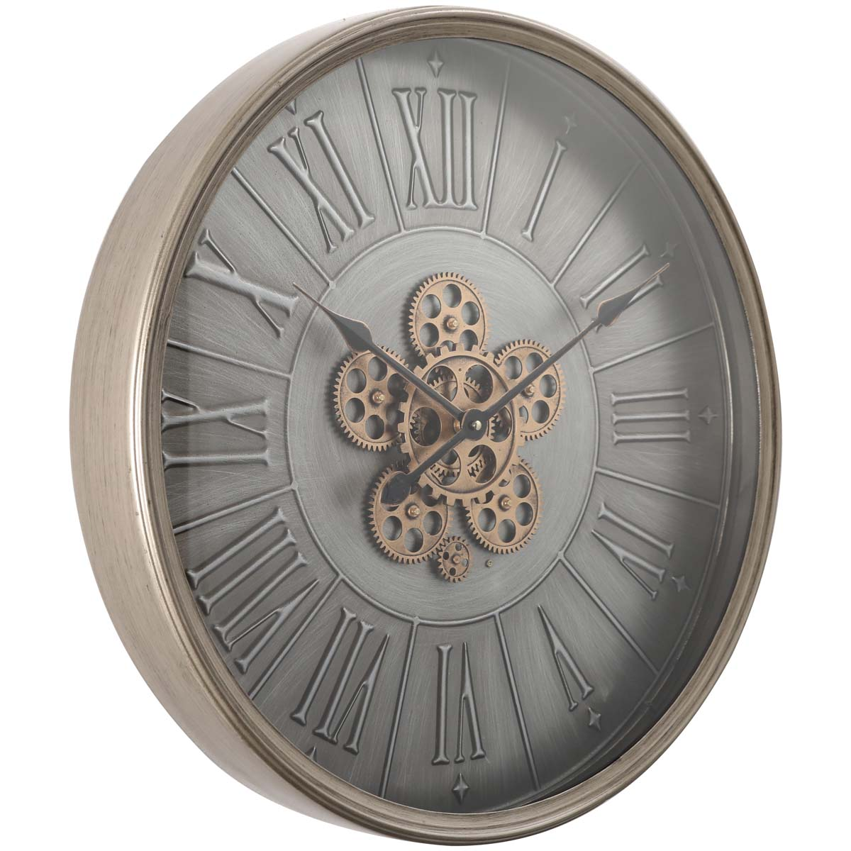 Chilli Decor George Indented Roman Metal Moving Gears Wall Clock 60cm TQ-Y666 1