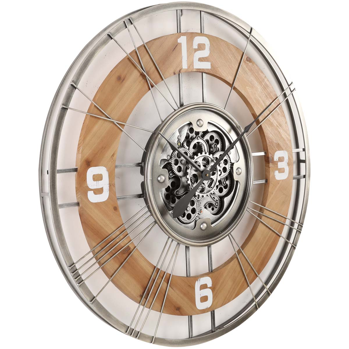 Chilli Decor Hampton Industrial Country Wood Metal Moving Gears Wall Clock 90cm TQ-Y692 1