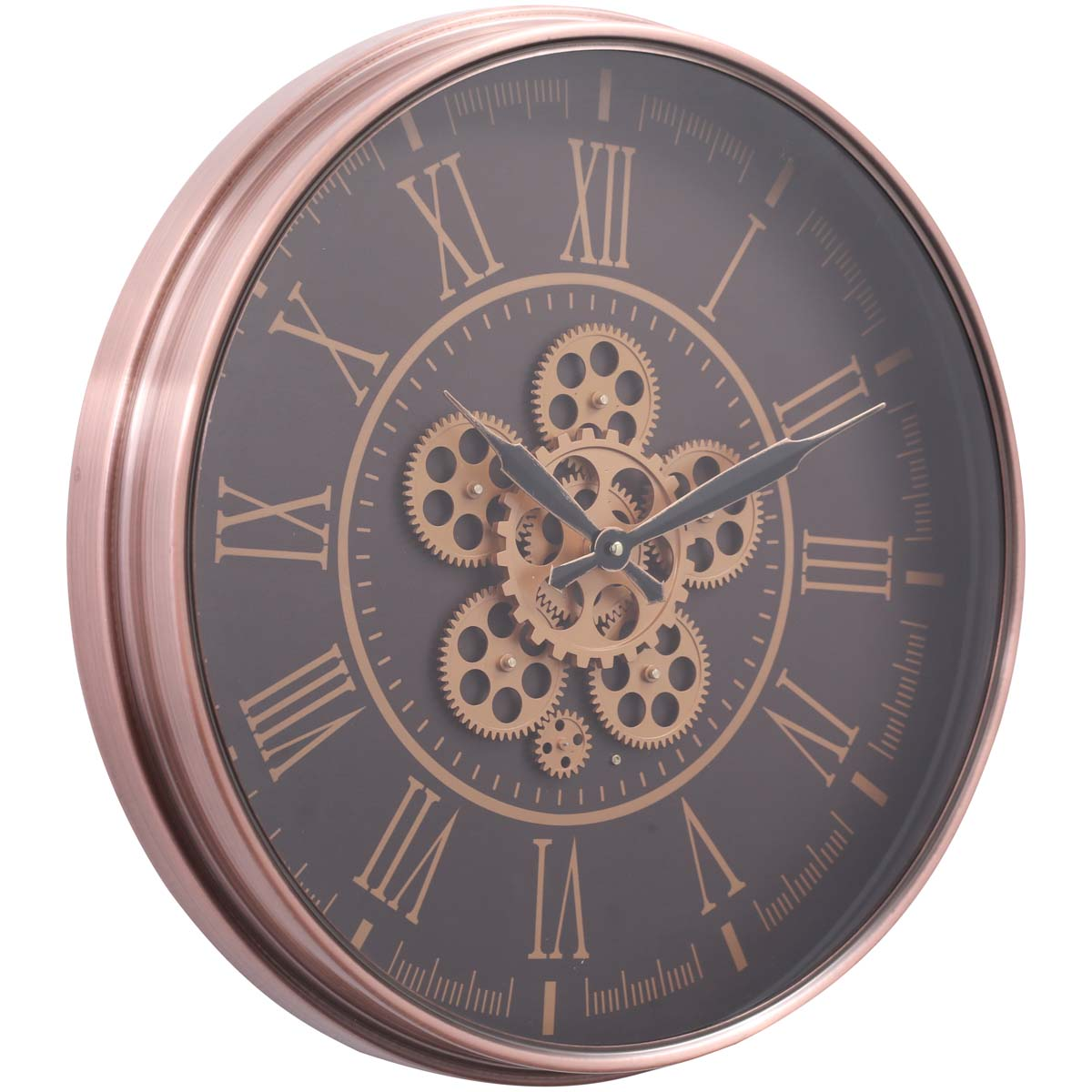 Chilli Decor Hera Rose Gold Copper Metal Moving Gears Wall Clock 55cm TQ-Y688 1