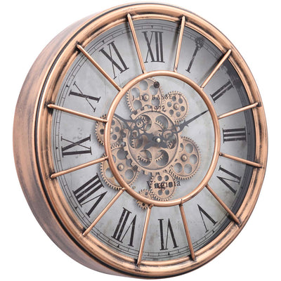 Chilli Decor JD Basset Industrial Metal Moving Gears Wall Clock Copper Wash 47cm TQ-Y685 1