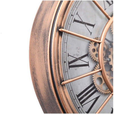 Chilli Decor JD Basset Industrial Metal Moving Gears Wall Clock Copper Wash 47cm TQ-Y685 4