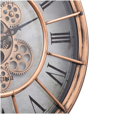 Chilli Decor JD Basset Industrial Metal Moving Gears Wall Clock Copper Wash 47cm TQ-Y685 5