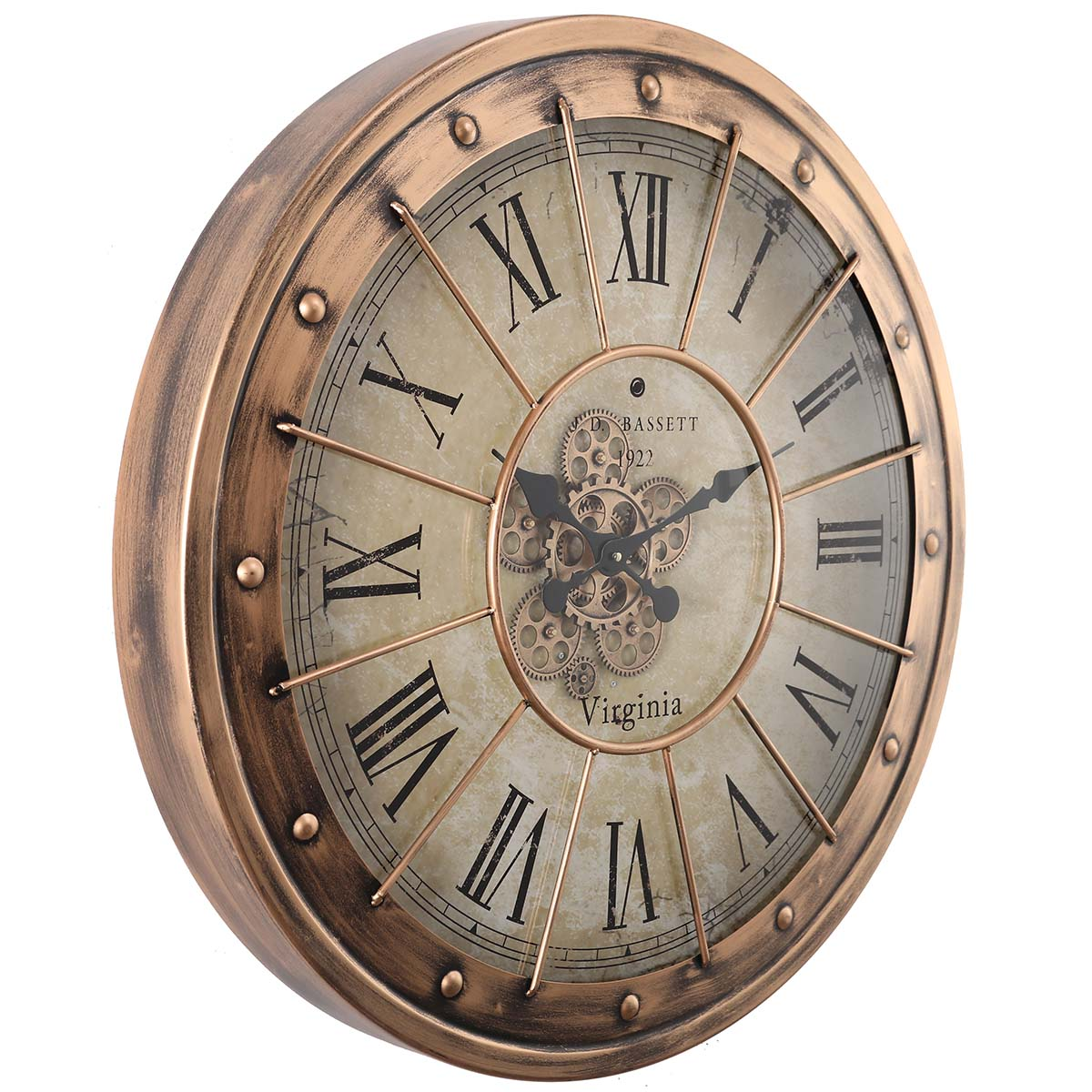 Chilli Decor JD Basset Industrial Metal Moving Gears Wall Clock Copper Wash 80cm TQ-Y670 1