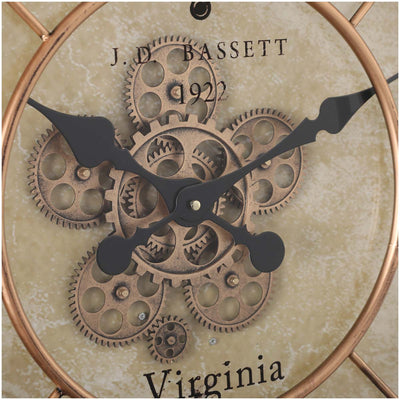 Chilli Decor JD Basset Industrial Metal Moving Gears Wall Clock Copper Wash 80cm TQ-Y670 3