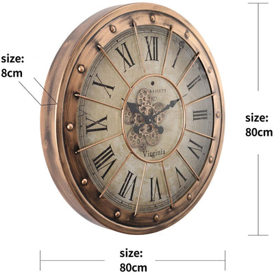 Chilli Decor JD Basset Industrial Metal Moving Gears Wall Clock Copper Wash 80cm TQ-Y670 6