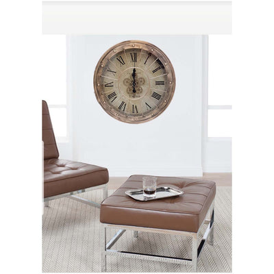 Chilli Decor JD Basset Industrial Metal Moving Gears Wall Clock Copper Wash 80cm TQ-Y670 7