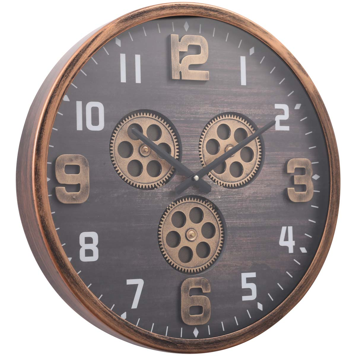 Chilli Decor Jacob Industrial Copper Black Metal Moving Gears Wall Clock 46cm TQ-Y701 1