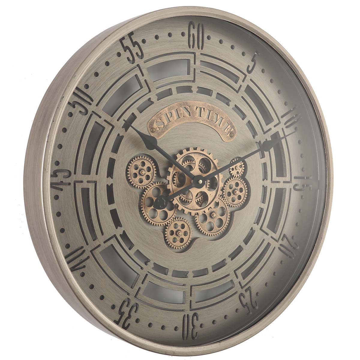Chilli Decor Spin Time Industrial Brushed Metal Moving Gears Wall Clock 60cm TQ-Y664 1
