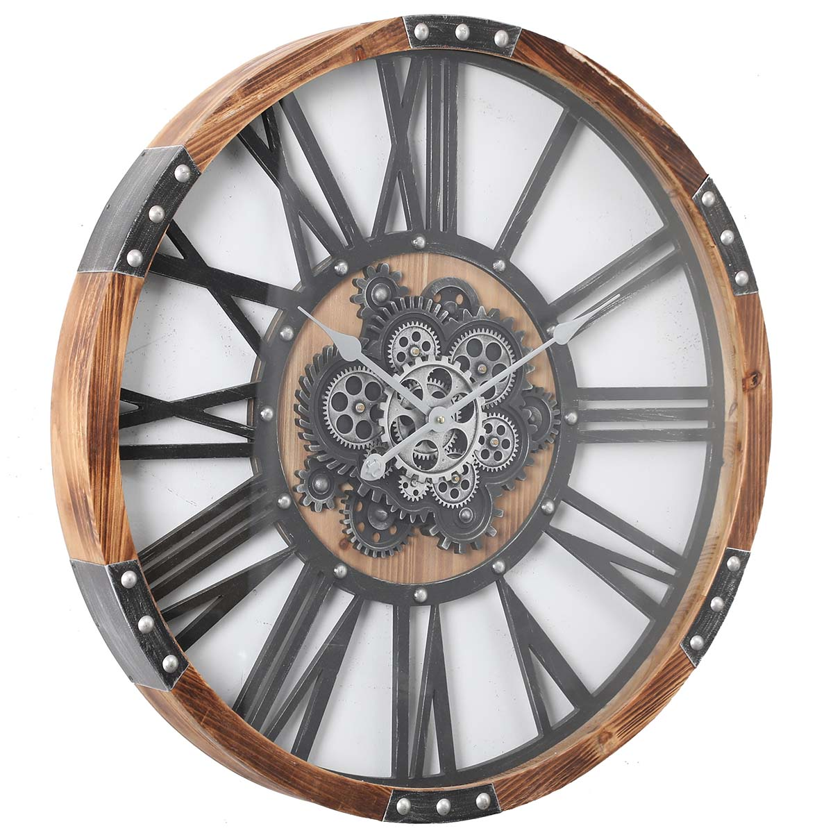 Chilli Decor Theo Industrial Country Wood Metal Moving Gears Wall Clock 73cm TQ-Y710 1