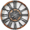 Chilli Decor Theo Industrial Country Wood Metal Moving Gears Wall Clock 73cm TQ-Y710 2