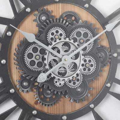 Chilli Decor Theo Industrial Country Wood Metal Moving Gears Wall Clock 73cm TQ-Y710 3