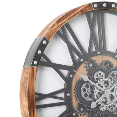 Chilli Decor Theo Industrial Country Wood Metal Moving Gears Wall Clock 73cm TQ-Y710 4