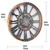 Chilli Decor Theo Industrial Country Wood Metal Moving Gears Wall Clock 73cm TQ-Y710 6