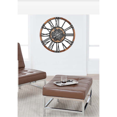 Chilli Decor Theo Industrial Country Wood Metal Moving Gears Wall Clock 73cm TQ-Y710 7