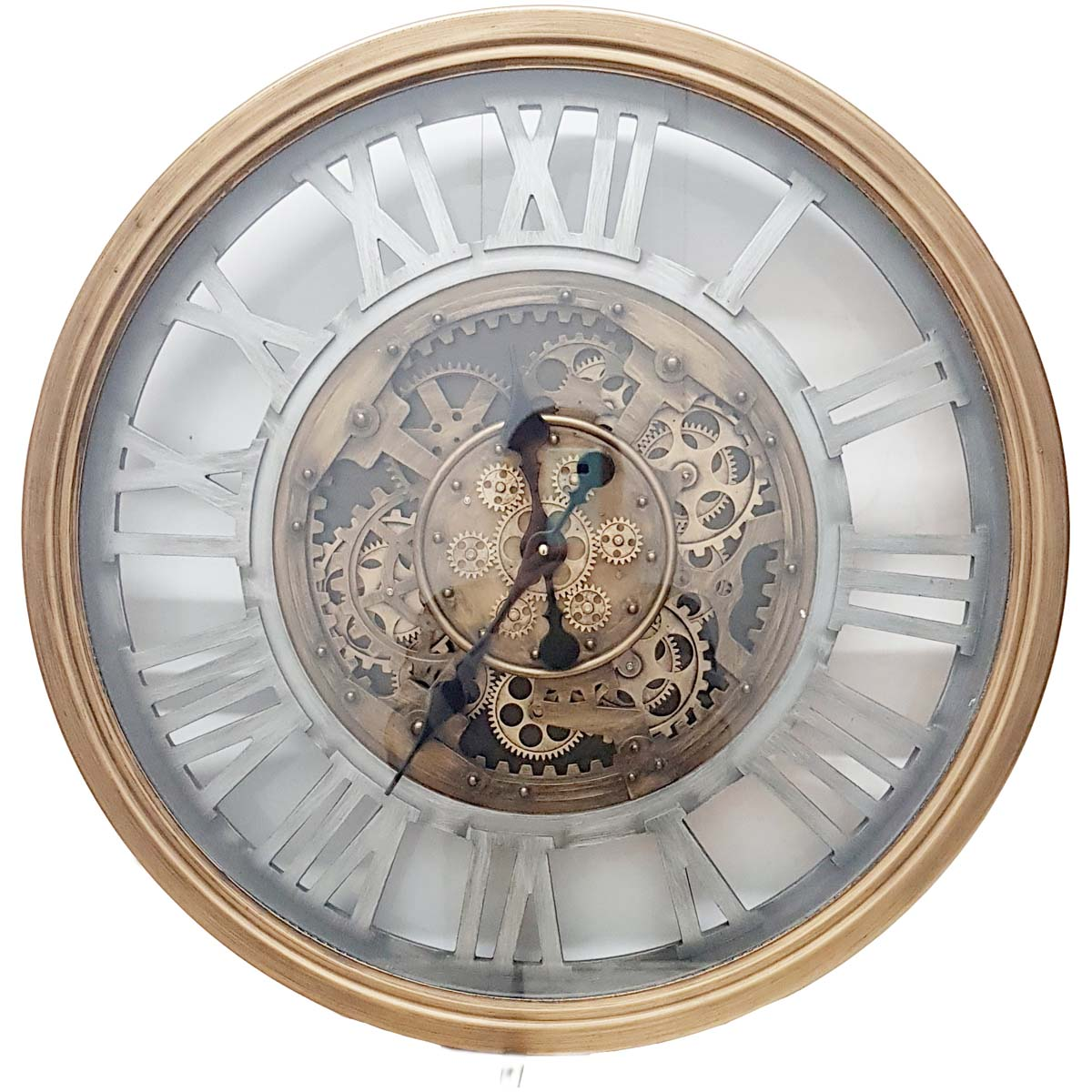 Chilli Decor Venitian Classic Gold Silver Metal Moving Gears Wall Clock 72cm TQ-Y662 1