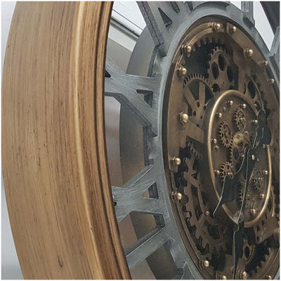 Chilli Decor Venitian Classic Gold Silver Metal Moving Gears Wall Clock 72cm TQ-Y662 2