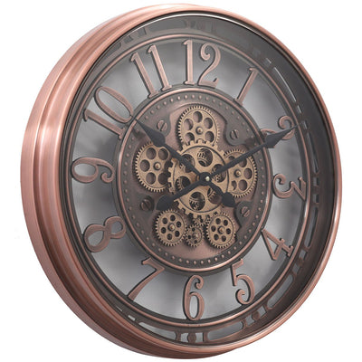 Chilli Decor Windsor Industrial Copper Wash Iron Moving Gears Wall Clock 55cm TQ-Y693 1