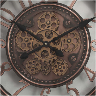 Chilli Decor Windsor Industrial Copper Wash Iron Moving Gears Wall Clock 55cm TQ-Y693 4
