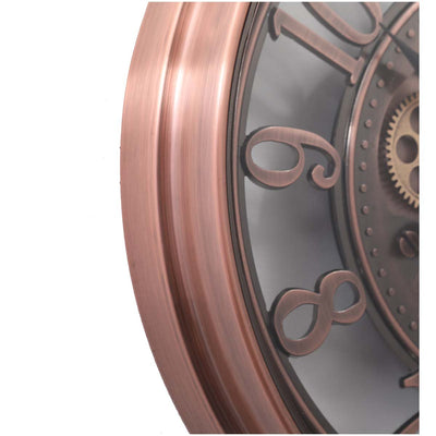 Chilli Decor Windsor Industrial Copper Wash Iron Moving Gears Wall Clock 55cm TQ-Y693 5