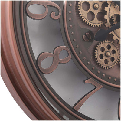 Chilli Decor Windsor Industrial Copper Wash Iron Moving Gears Wall Clock 55cm TQ-Y693 6