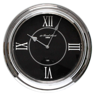 Christiana Bond Street London Classic Silver Frame Wall Clock Black 35cm WJ093K 1