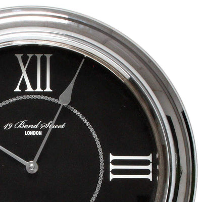 Christiana Bond Street London Classic Silver Frame Wall Clock Black 35cm WJ093K 2