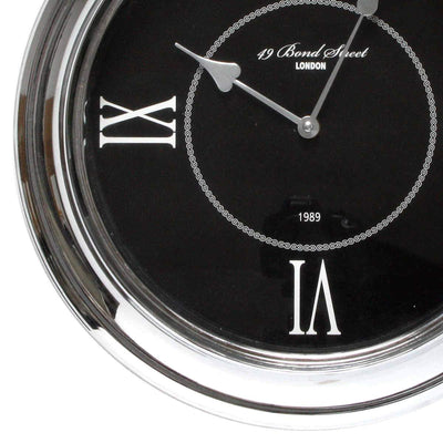 Christiana Bond Street London Classic Silver Frame Wall Clock Black 35cm WJ093K 3