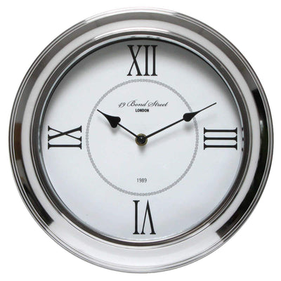 Christiana Bond Street London Classic Silver Frame Wall Clock White 30cm WJ093J 1
