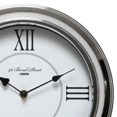 Christiana Bond Street London Classic Silver Frame Wall Clock White 30cm WJ093J 2