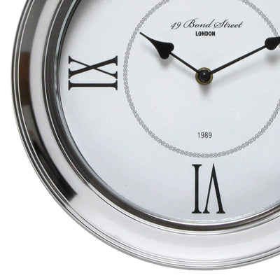Christiana Bond Street London Classic Silver Frame Wall Clock White 30cm WJ093J 3