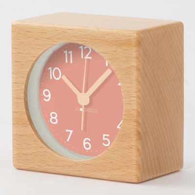 Clocksicle Blush Silent Wood Alarm Clock 9cm 9BUWDYW 2