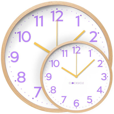 Clocksicle Lilac and Yellow Silent Wood Wall Clock 26cm 26LYWDYW 2