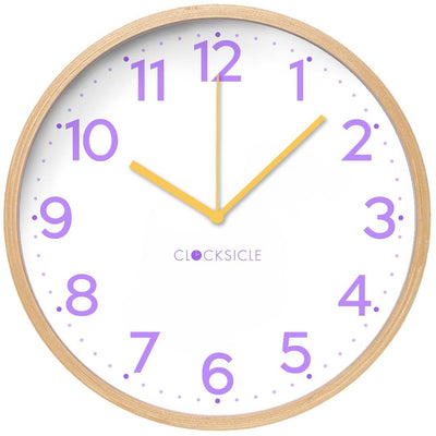 Clocksicle Lilac and Yellow Silent Wood Wall Clock 40cm 40LYWDYW 1