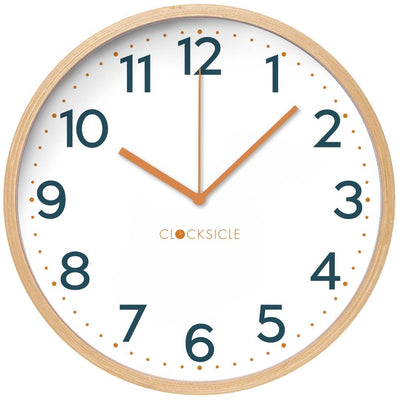 Clocksicle Mustard and Navy Silent Wood Wall Clock 40cm 40MNWDMD 1