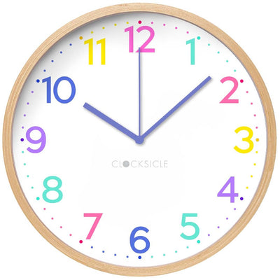 Clocksicle Neon Rainbow Silent Wood Wall Clock 26cm 26NRWDPP 1