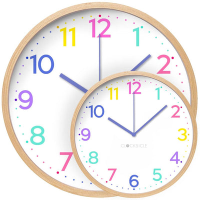 Clocksicle Neon Rainbow Silent Wood Wall Clock 26cm 26NRWDPP 2