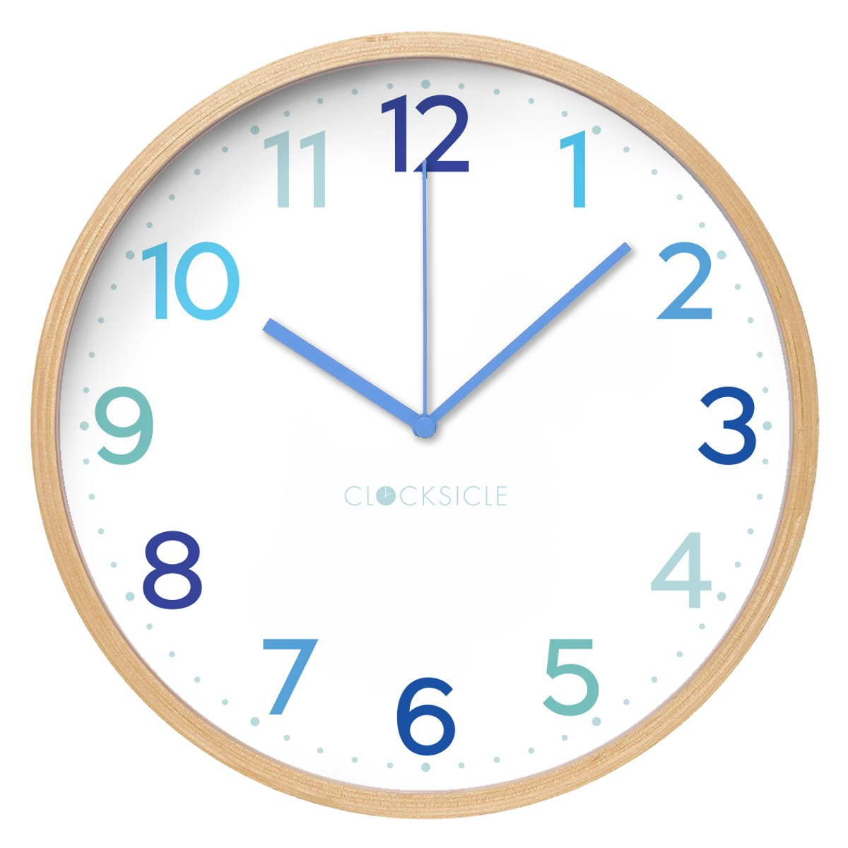 Clocksicle Silent Multi Blue Wood Wall Clock 40cm 40MBWDBL 1