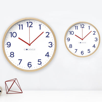 Clocksicle Silent Navy Wood Wall Clock 26cm 26NVWDRD 3