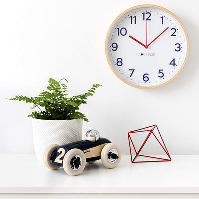 Clocksicle Silent Navy Wood Wall Clock 26cm 26NVWDRD 6