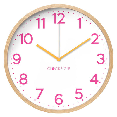 Clocksicle Silent Neon Pink wood Wall Clock 40cm 40NPWDOG 1