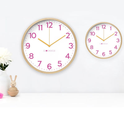 Clocksicle Silent Neon Pink wood Wall Clock 40cm 40NPWDOG 2