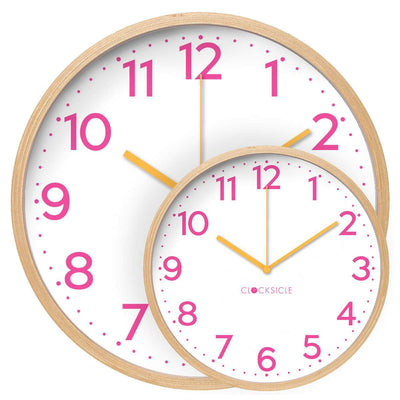 Clocksicle Silent Neon Pink wood Wall Clock 40cm 40NPWDOG 3