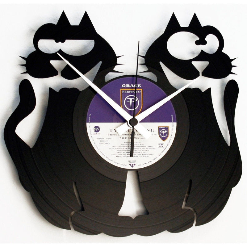 DISC'O'CLOCK Vinyl Record Cat Duo Wall Clock 30cm DOC047
