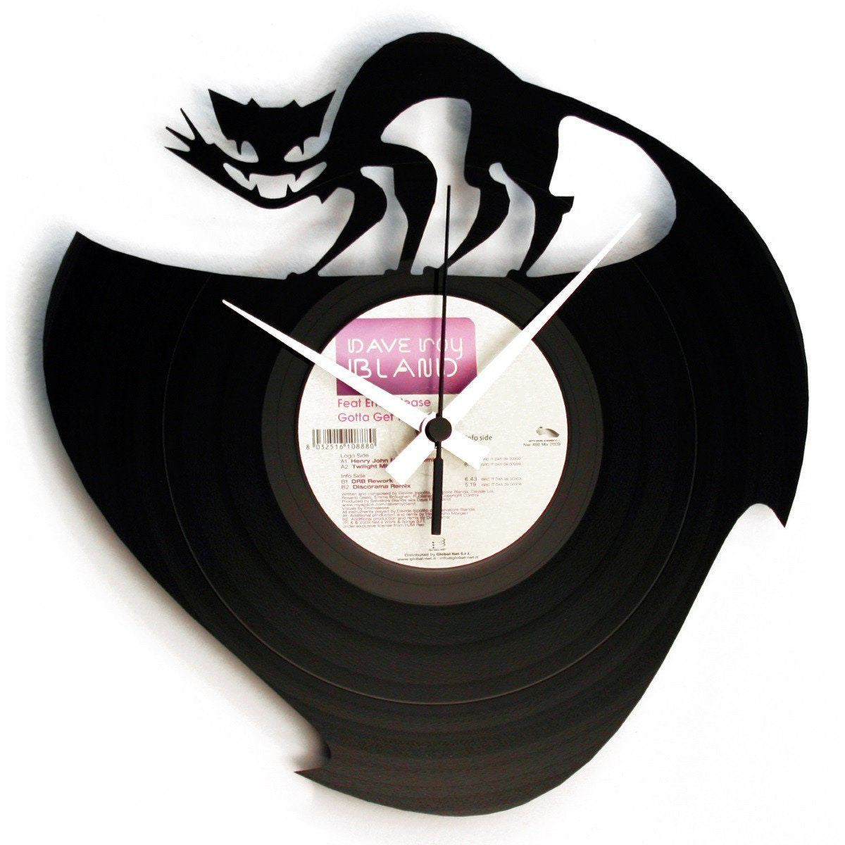 DISC'O'CLOCK Vinyl Record Curiosity Killed the Cat Wall Clock 30cm DOC003