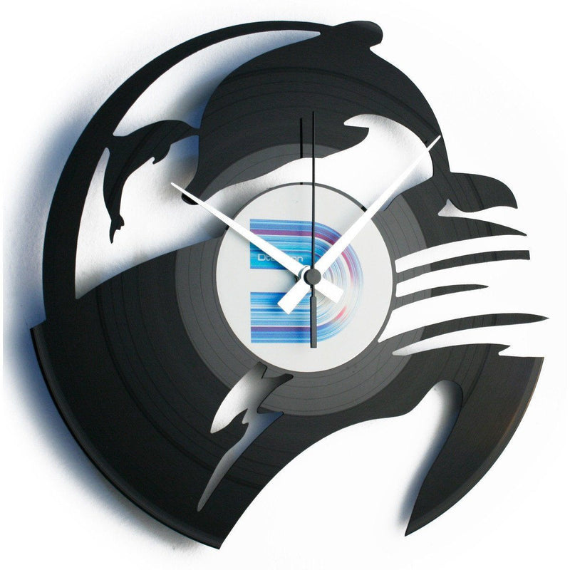 DISC'O'CLOCK Vinyl Record Dolphins Wall Clock 30cm DOC093