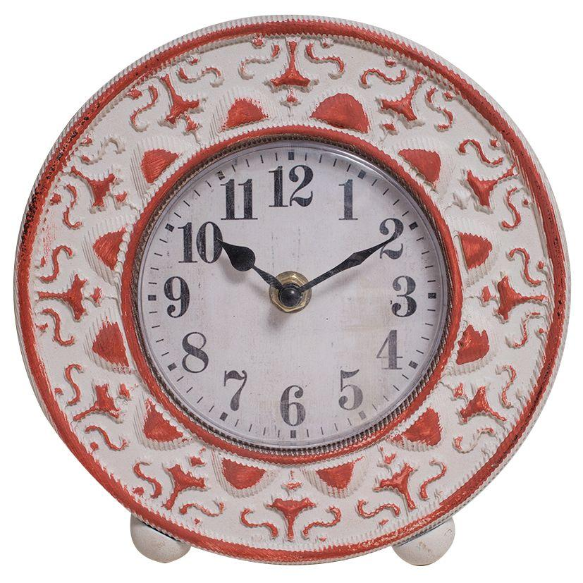 Debonaire Elegant Carved Wood Desk Clock Red 18cm CL193-Pink 1